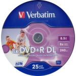 VERBATIM 8.5GB DUAL LAYER +r, 8x PRINTABLE 25 PACK. code VERBATIM 43667