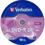 VERBATIM 8.5GB DUAL LAYER NON-PRINTABLE 8x, +r, 10 PACK. code: VERBATIM 43666